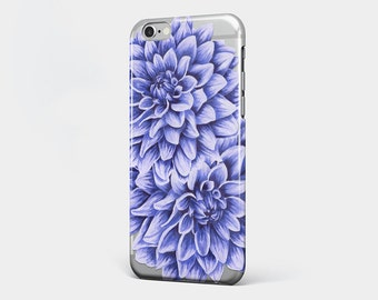 Transparent iPhone Case Purple Flower iPhone 7 Clear Case Phone 7 Plus Floral iPhone 6 Plus Clear iPhone 6S Case Flower Galaxy Case iPhone 5