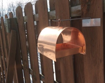 Copper half round bird feeder