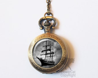 Vintage Pirates Ship Pocket Watch Necklace, Pirates Ship, Caribbean, Nautical, Schooner, Sailor, Vintage Gold or Silver Pocket Watch