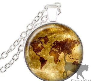 Steampunk Map, World Map, Global Map Silver Necklace Pendant