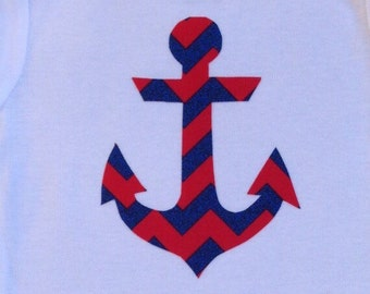 Cape Cod/Nautical Themed Infant Bodysuit! Navy and red anchor!