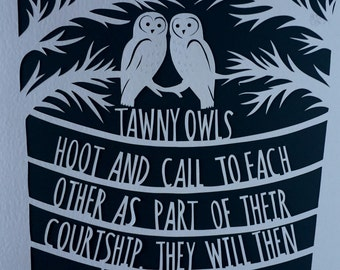 Love in the wild Papercut - Owls