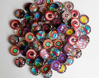 10 Mosaic Mixed Design Round Glass Cabochons 10mm (035)