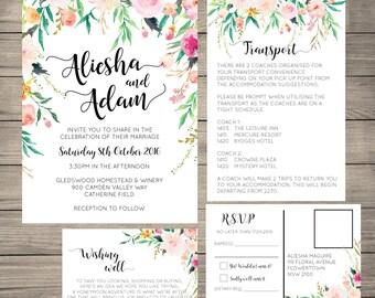 Floral Wedding Invitation Suite, Invitation, Wishing Well, RSVP, Details Card, Printable DIY, Printed