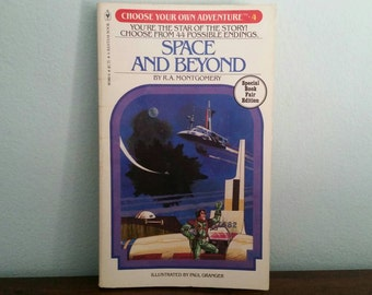 Space and Beyond by R A Montgomery, vintage children's Choose Your Own Adventure book