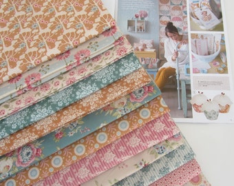 NEW from Tilda ' Spring Diaries ' 1950's Retro Inspired Floral Quilting and Craft Fabric Fat Quarter Bundle x 12