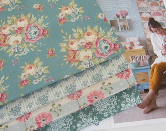 NEW from Tilda ' Spring Diaries ' 1950's Retro Inspired Turquoise Teal  Floral Quilting and Craft Fabric Fat Quarter Bundle x 4