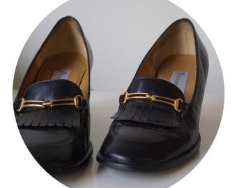 Etienne Aigner Black Loafer Heels (Size 6)