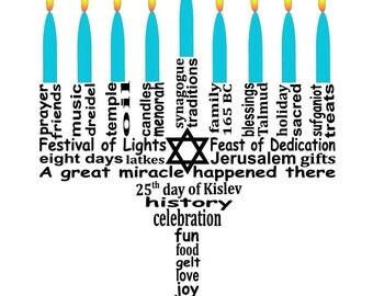 Hanukkah Decoration Art, Hanukkah Menorah Word Art Typography, Menorah Art, Instant Download, PRINTABLE DIGITAL FILE