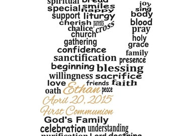 First Communion Art, Communion Art, Boy First Communion Word Art, Keepsake Art, Personalized Word Art Typography,  PRINTABLE DIGITAL FILE