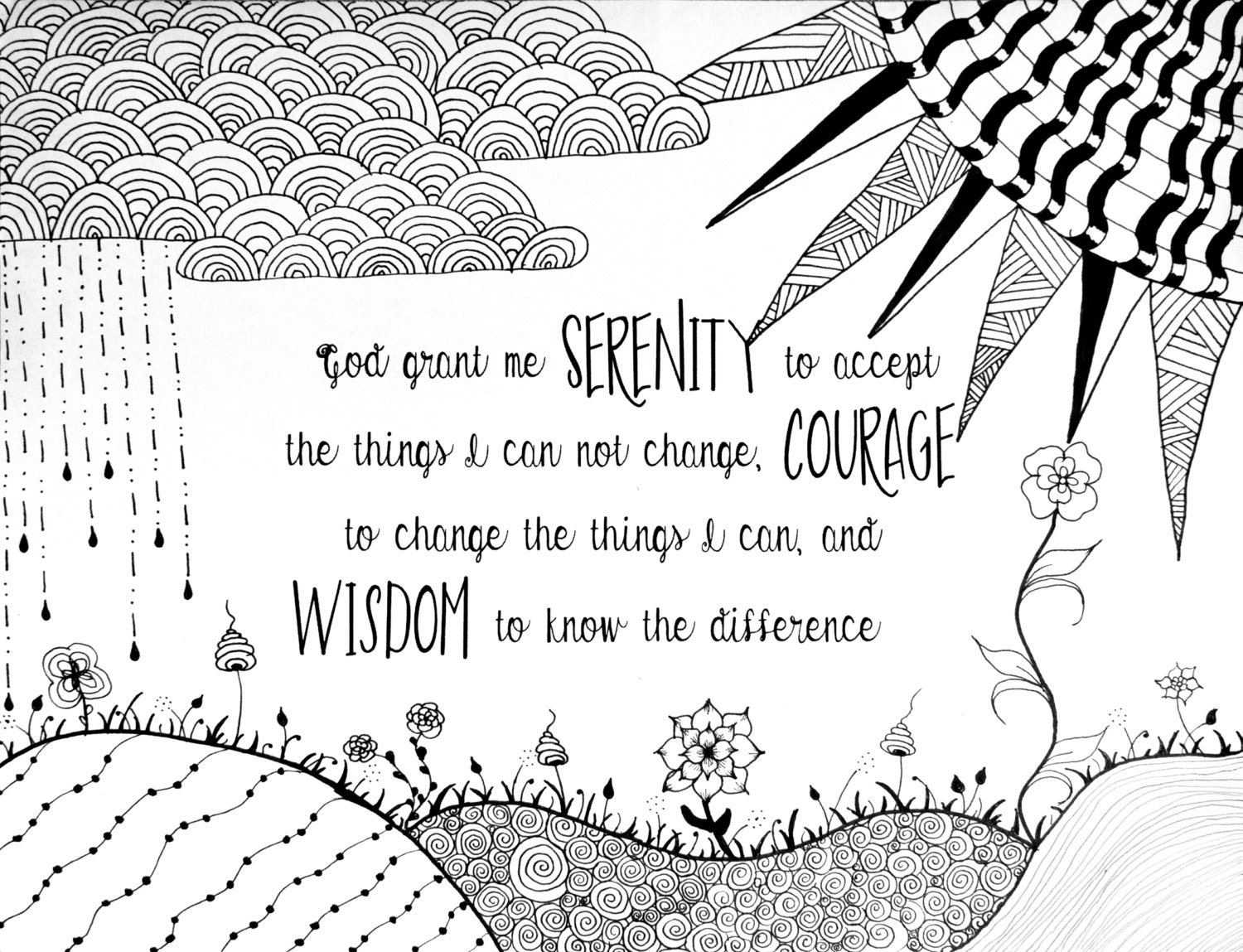 Serenity prayer coloring page for Prayer coloring pages