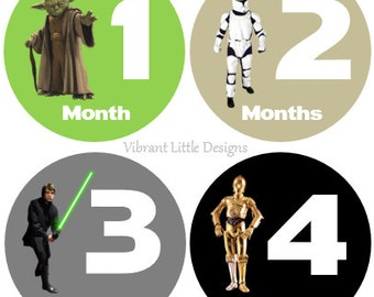Star Wars Baby Monthly Stickers Boy, Milestone Stickers, Month to Month Stickers, Baby Shower Gift #5
