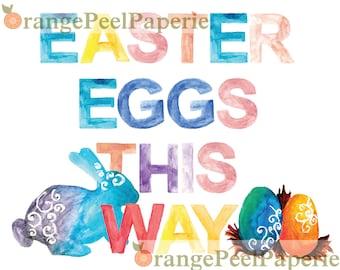 Easter Egg Hunt, Easter Printable, Easter Party, Easter Decor, Easter Party Decor, Watercolor Easter Print, Easter Instant Download, Easter