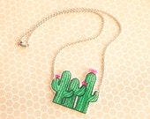 SALE!!! Cute Pink Flowering Cactus Trio Shrink Plastic Necklace with Stainless Steel Hypoallergenic Chain