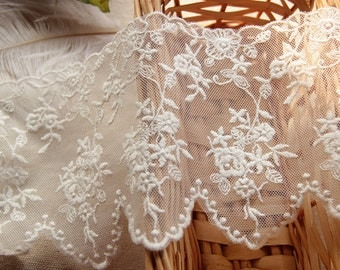 White Floral Lace Cotton Trim Embroidery Tulle Lace Trim 4.33 Inches Wide 2 Yards L0411
