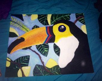 Rainforest Toucan Canvas Painting