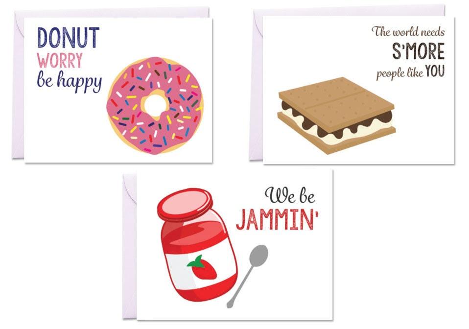 Puns Kitchen Kids Desserts Set Of 3 Greeting Cards