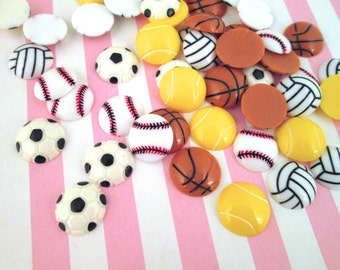 5 Sports Cabochons, Soccer, Basketball, Tennis, Volleyball, Baseball #911