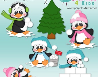 Snowball fight Digital Clipart - Clip art for scrapbooking, party invitations - Instant Download Clipart Commercial Use