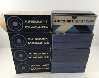 Lot 8 vintage Airequipt automatic slide magazines for 2 in x 2 in slides -- 36 slides per magazine -- original boxes