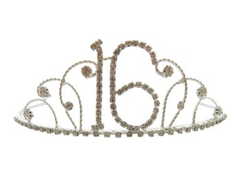 16th Birthday Diamante Crystal Tiara - Silver Plated Finish