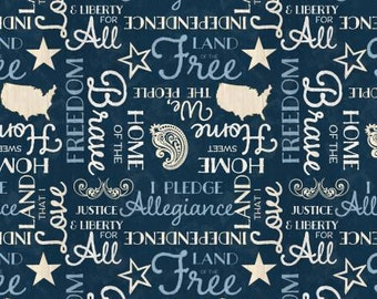 Colors of Freedom Blue Words from Wilmington by the yard