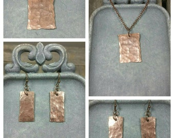 Hammered Oxidized Copper Necklace and Earrings /Artisan Jewelry /boho / handmade