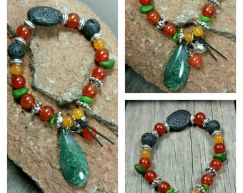 Burnt Red Mango Glass Essential-Oil Lava Stone Diffusing Bracelet with a tear drop Moss Agate Stone/soundless bell