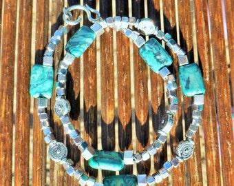 Silver& Turquoise wrap bracelet