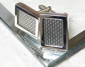 Engine Turned Antique Sterling Silver Cufflinks
