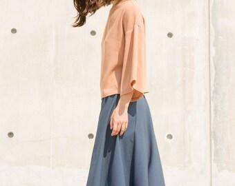 Blue Culottes, Women culottes, culottes elastic waist, wool pants, wide leg pants, culotte pants, culottes plus size