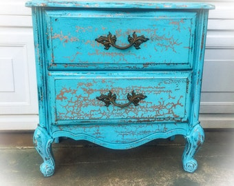 SOLD - French Country Nightstand, blue, copper, farmhouse, vintage nightstand, shabby chic, nightstand, distressed, french provincial