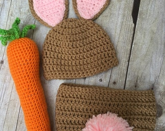 Newborn Bunny Crochet, baby bunny hat, crochet bunny hat, photo prop, baby girl easter bunny, newborn easter bunny hat, bunny set carrot
