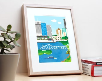 Story Bridge, Brisbane – Unframed A4 poster print. Cityscape skyline wall art. Home office decor. Architecture. City Living.