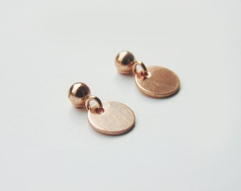 14k Rose gold filled circle disc charm 6mm stud drop dangle earrings