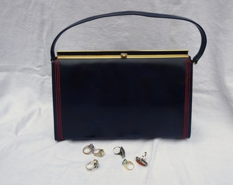 Vintage Navy Blue with Red Stiching Vinyl 1960's Purse | Gold Snap Closure Handbag | Vinyl Mid Century Handbag  | Frame Purse