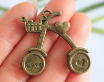 Own Charm~~  Antique Bronze Bicycle Charm Pendant Bike Charm 34*36mm