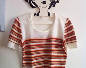 SALE! 70s short sleeves striped sweater / medium