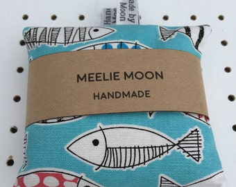 Microwaveable Fish Fabric Wheat Hand warmers. Re-useable, natural, eco-friendly. Made In Cornwall.