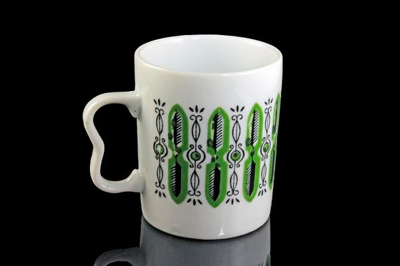 Mug, Trimont Ware Japan, Retro Mug, Green and White, Coffee Mug, Tea Mug, Hot Chocolate Mug, Mini Mug