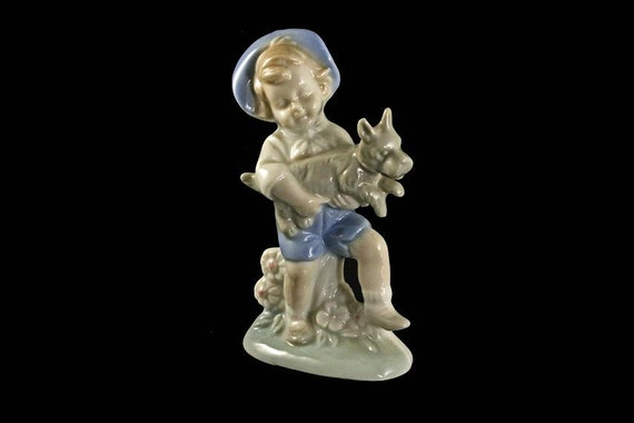 Boy and Dog Figurine, Lego Japan, Porcelain, Blue and White