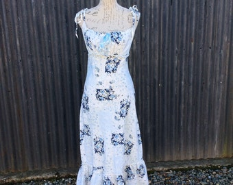 White and blue floral print cotton maxi dress