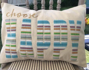 Canvas Pillow Cover with Vintage Fabric | Choose Happy