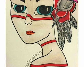 Tribal Woman Watercolor over Ink Paint