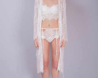 Mario Lace Robe. Bridal Robe,Robe,Wedding Lingerie, Bridal Lingerie,Nightgown, Slip Dress, Lace Dress, Lace Robe.