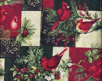Christmas Cardinels Birds Red Green Curtain Valance