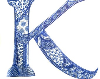 Monogram art prints of original design letters