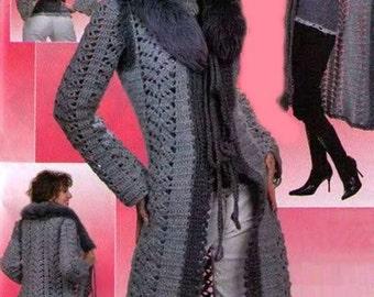Long gris dames manteau crochet / custom