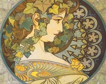 "Alphonse Mucha ""Erin"" 1920's Reproduction Digital Print Art Nouveau Wall Decor Wall Art"