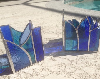Stained Glass Candle Holder - Blue
